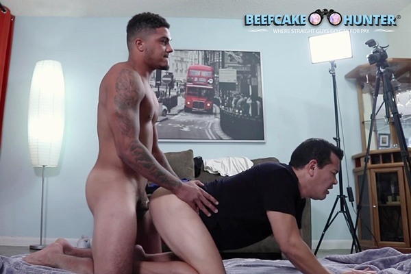 Masculine straight beefcake, construction worker Kameroon fucks Victor until he cums in Victor's mouth in Kameroon Gave Me A Good Pounding at Beefcakehunter