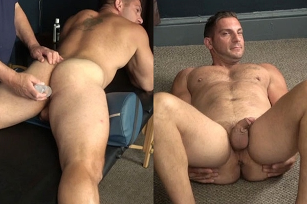 Italian straight muscle hunk Markey gets his tight virgin ass fingered and dildo-fucked by master Rich before Markey jerks off and tastes his own cum at Hardupstraightguys