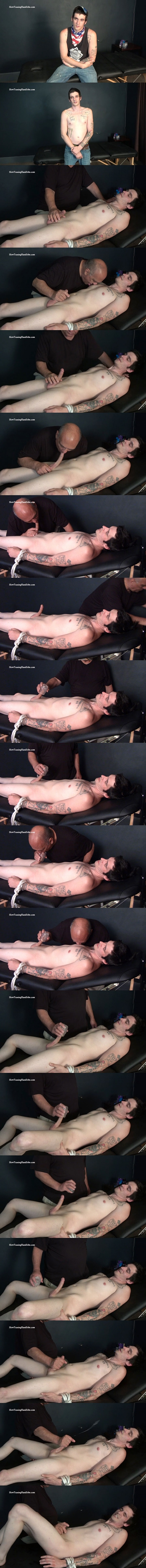Cute newbie, inked bisexual dude Stiffler gets slowly teased, tormented and jerked off by master Rich in His First Long Distance Cum Shot at Slowteasinghandjobs 01