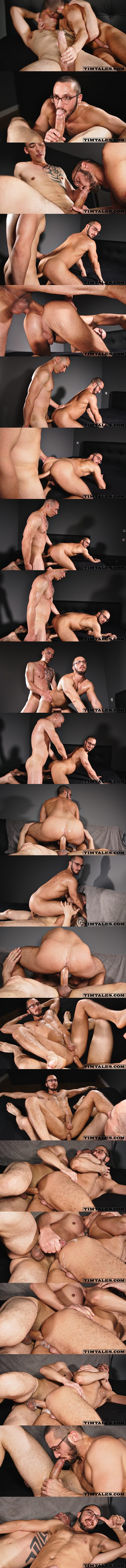 Hot hung newcomer, Chinese-German strongman Tian Tao barebacks power bottom Saverio balls deep in several positions before he breeds Saverio with a thick load at Timtales 01