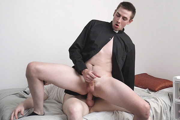 Hot muscle jock Jay Tee (aka Tom Hunks and Elder Edwards) barebacks veteran gay porn star Jack Hunter until he fucks the cum out of Jack in Impure Thoughts at Yesfather