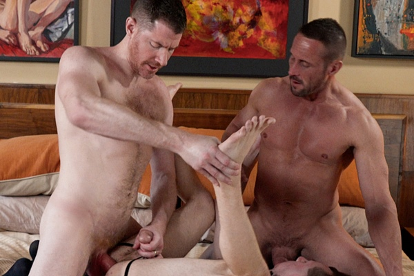 Hung masculine daddy LeGrand Wolf and Myles Landon tag team and bareback twink Blake Ellis before LeGrand creampies Blake in Chapter 3 The Prize at Boyforsale
