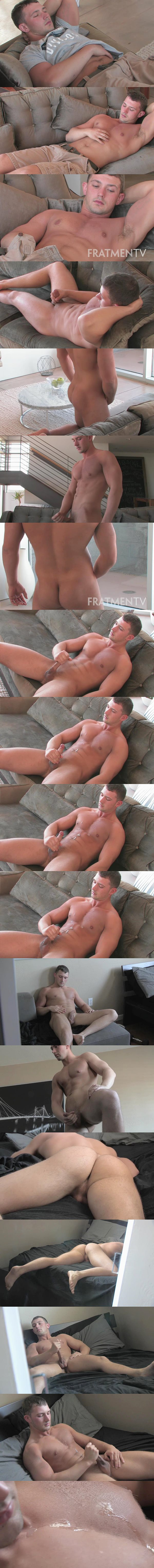Ripped muscle jock Bruno (aka Casey at Seancody) strips down and strokes his hard cock until he blows two sticky loads at Fratmen