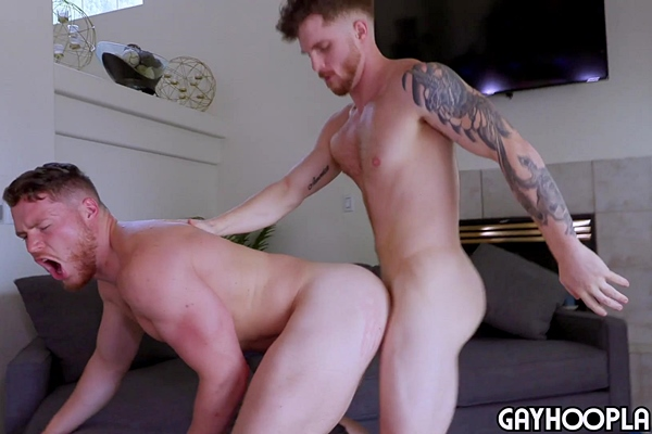 Inked jock Dustin Hazel fucks red-headed beefcake Canelo Ment's bubble ass in several positions before he fucks the cum out of Canelo at Gayhoopla