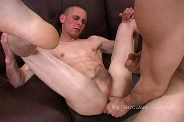 Straight Navy Buzz gets his cherry popped in a flip flop with Rob in Buzz' bottoming debut in Anal Recipricate at Militaryclassified