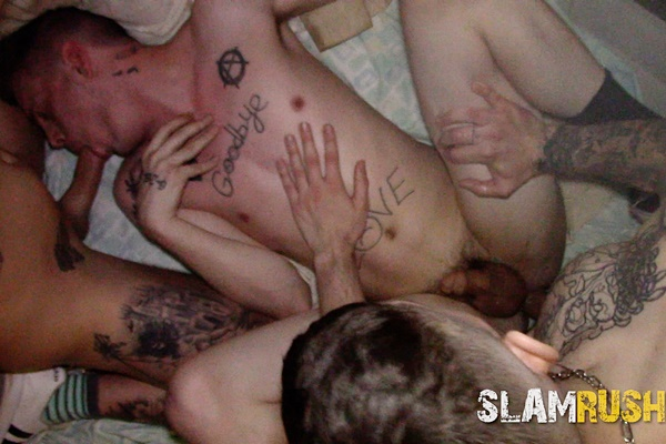 New models Holt Wood, Jake Hart, Jeremy G, Jim, Justin Case, Justin Zayne, Matt, Sebastian Hunt, Shawn Skyler, Tanner and Tony Hawg gangbang in Trashed Dumpster at Slamrush