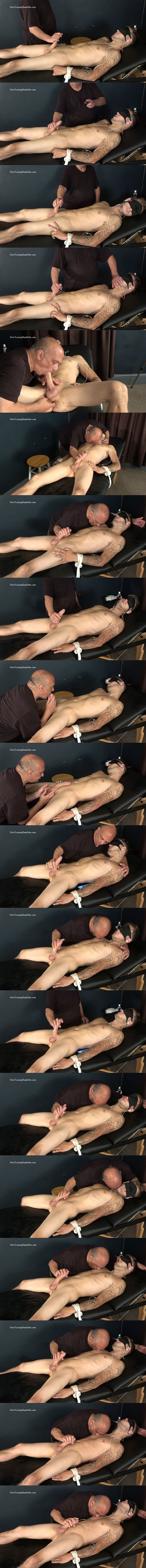 Inked straight dude Nick gets bound, blindfolded, teased and edged by master Rich until Nick gets jerked off in Teasing Finger Tips at Slowteasinghandjobs 01