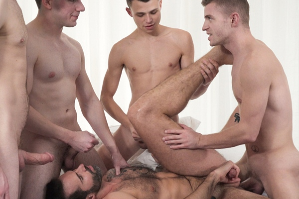 Cute twinks Austin Young, Blake Ellis, Cole Blue and Tom Bentley gangbang sexy hairy daddy Dani Robles before they creampie and fuck the cum out of Dani at Twinktop