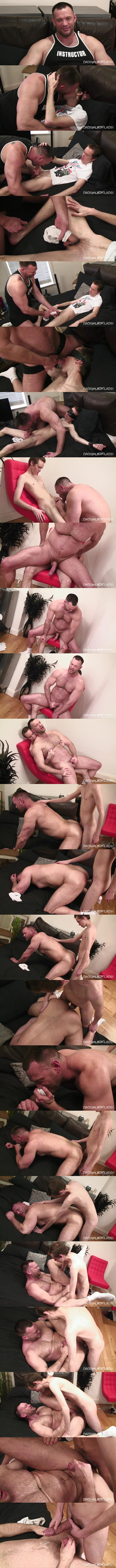 Skinny hung lad Steven Prior fucks masculine Aussie daddy Aaron Cage's big muscle butt in an older younger scene before he fucks the cum out of Aaron at Twinktop 01