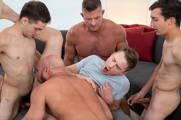 Marcus Rivers, Matthew Figata bareback and creampie Cole Blue, Jack Andram and Killian Knox in Family Getaway The Kamp Family Thanksgiving Dinner at Gaycest