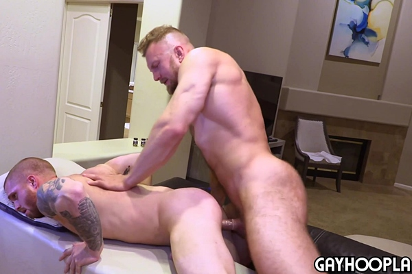 Big hairy muscle man Bryce Beckett and inked dude Dustin Hazel take turns fucking each other's asses until they blow their white jizz at Gayhoopla