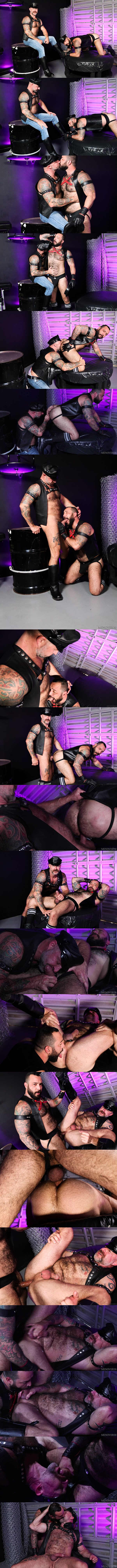 Inked macho daddy Julian Torres and Musclebear Montreal take turns barebacking each other before Julian fucks the cum out of Musclebear in Taking Care Of Leather Daddy at Menover30 01