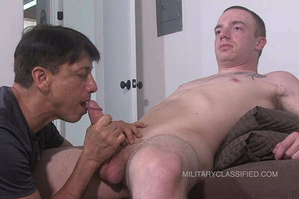 Straight Marine, new recruit Josef (aka Joey Russo) gets sucked and stroked by a guy for the first time before Josef dumps his white jizz on Rob's bare feet at Militaryclassified