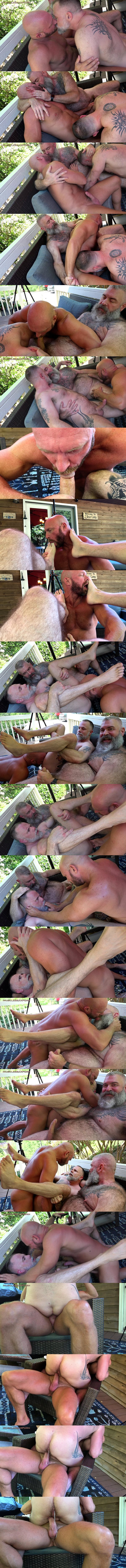 Muscle daddy Killian Knox and real bear couple Liam Angell and Will Angell have a raw threesome before Killian barebacks and creampies Liam in Feed Me at Musclebearporn 01