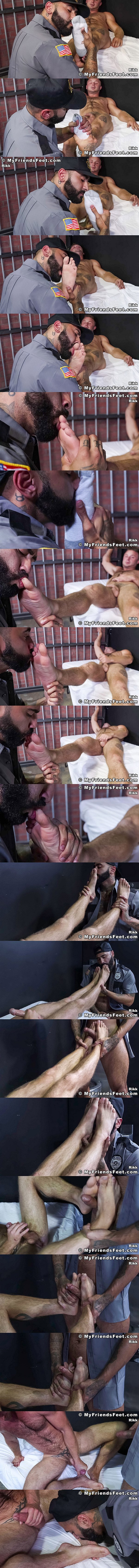 Newcomer Chad Tyler (aka Chad Taylor) gets his sports socks and bare feet worshiped by gay porn star Rikk York before Rikk foot fucks Chad in Guard Rikk Owns Chad's Feet at Myfriendsfeet 01