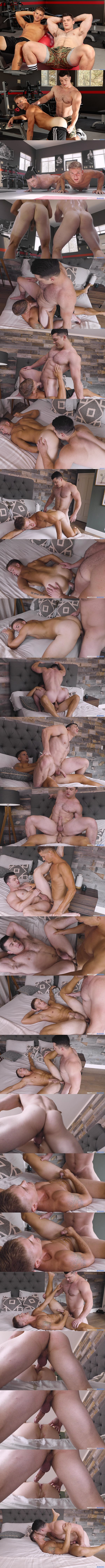 Fit muscle jock Brandon Anderson and Collin Simpson flip fuck raw before Collin fucks a big juicy load out of Brandon and creampies him In Collin's Muscle Study at Nextdoorbuddies 01