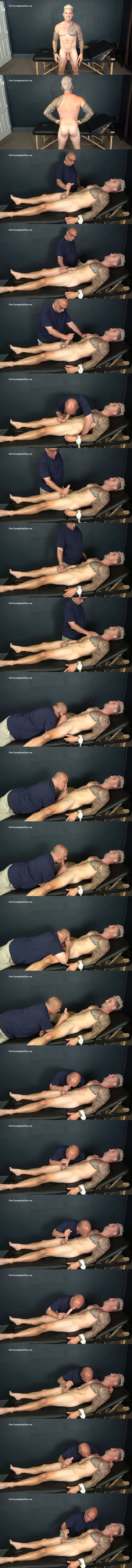 Muscular male stripper Ronnie (aka Ronnie J) gets tied up naked, slowly sucked and edged by master Rich before Rich milks the jizz out of Ronnie's hard boner in Muscular Stripper Hand Job at Slowteasinghandjobs 01