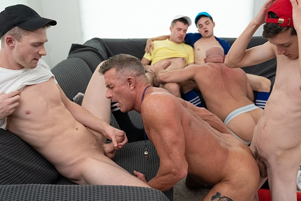 Marcus Rivers, Maxx Monroe, Jack Andram and Cole Blue gangbang daddy coach Killian Knox and Matthew Figata before Matthew and Killian get creampied in Turkeybowl at Twinktop