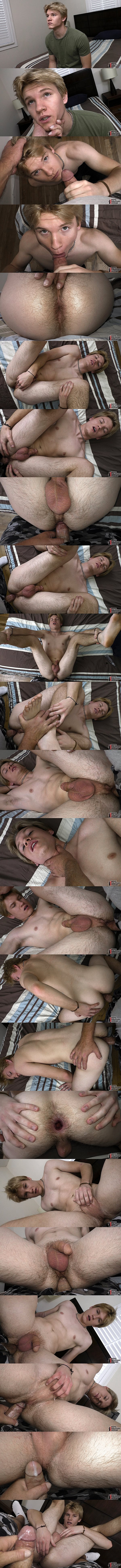The house manager barebacks cute blond straight jock Tyler Blue's tight bubble ass before he creampies Tyler in a POV scene in Paying His Dues at Boyshalfwayhouse 01