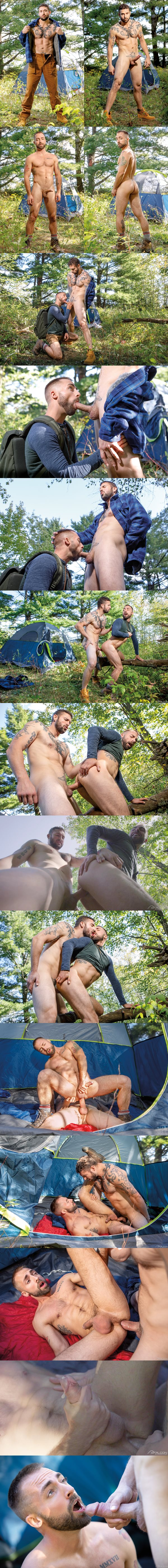 Masculine Canadian straight beefcake Derek Thibeau barebacks Jeremy London outdoors before he fucks the cum out of Jeremy in Into The Woods at Falconstudios 01