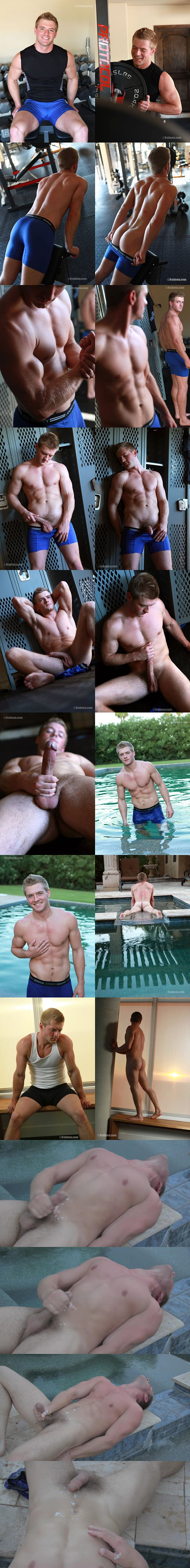 Handsome straight muscle jock Cason (aka Sean Holmes at Gayhoopla) shows off his naked muscle body and shoots a sticky load by the pool at Fratmen