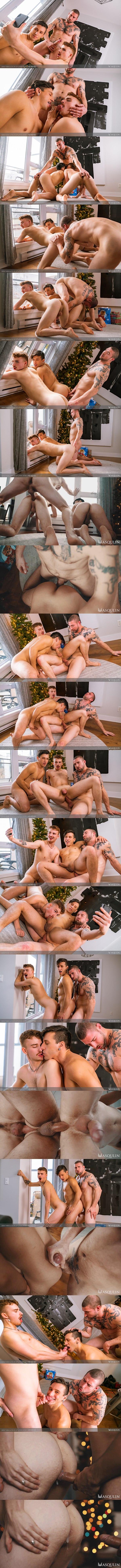 Masculine inked straight beefcake Derek Thibeau barebacks Collin Lust and Ryan Jacobs before Collin creampies Ryan in a raw threesome at Masqulin 01
