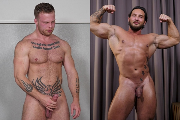 Tattooed straight muscle hunk Chad Walker and masculine Russian bodybuilder Daniil show off their muscular naked bodies before they jerk off at Theguysite