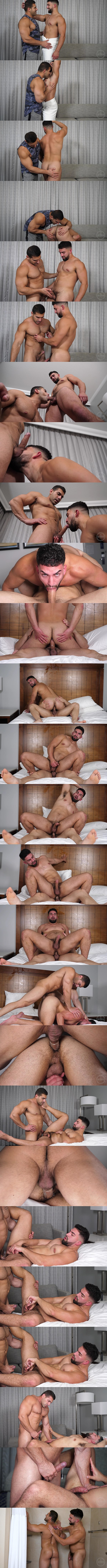 Masculine latino beefcake Damien Stone fucks sexy male stripper Nick LA in several positions before they blow their creamy loads at Theguysite 01