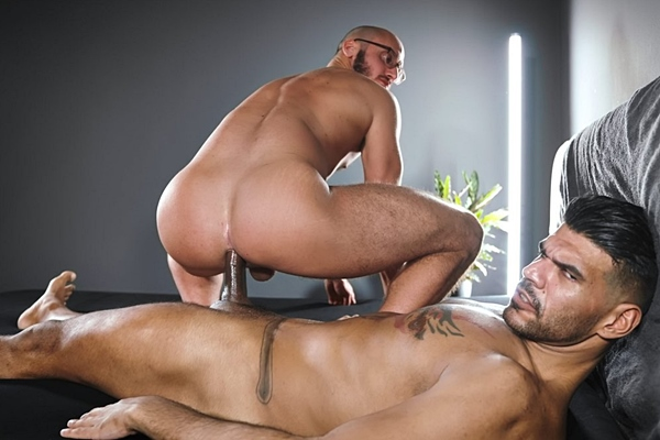 Hung inked stud, Brazilian alpha rough top Leon barebacks Saverio's bubble ass in different positions before he breeds Saverio at Timtales