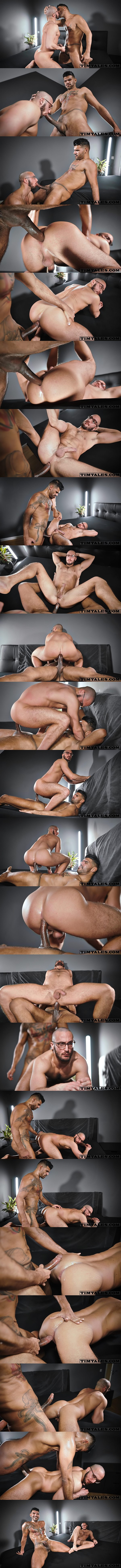 Hung inked stud, Brazilian alpha rough top Leon barebacks Saverio's bubble ass in different positions before he breeds Saverio at Timtales 01