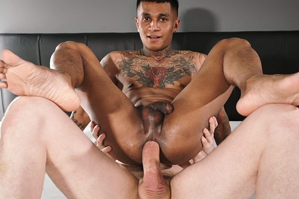 Horse hung German power top Tim Kruger barebacks Indonesian tattooed bottom Fabio Toba in a various of positions in an interracial scene before he creamies Fabio at Timtales