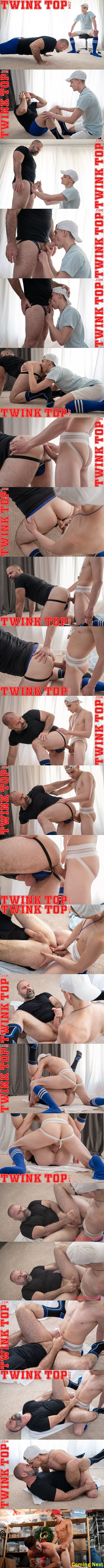 Big-dicked twink Marcus Ryan barebacks masculine daddy coach Bishop Angus before he fucks the cum out of Angus and creampies him in Top Training at Twinktop 01