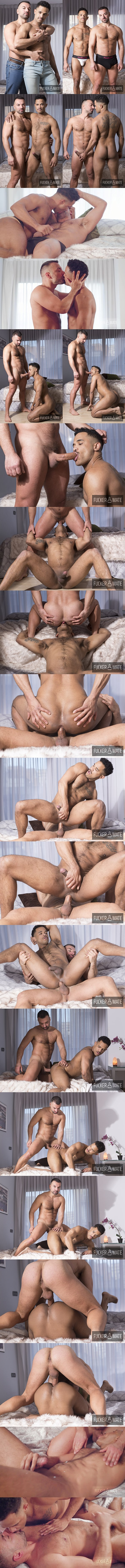 Spanish muscle stud Oliver Marinho (aka Frederic Duris) barebacks black muscle hunk Jonas Brown in an interracial scene until they blow their loads at Fuckermate 01