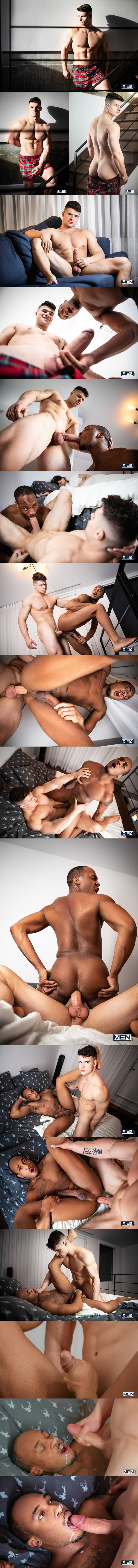 Hot male stripper Malik Delgaty barebacks black muscle stud Trent King before he fucks the cum out of Trent and gives him a facial in I Snatched Her Boyfriend at Men 01