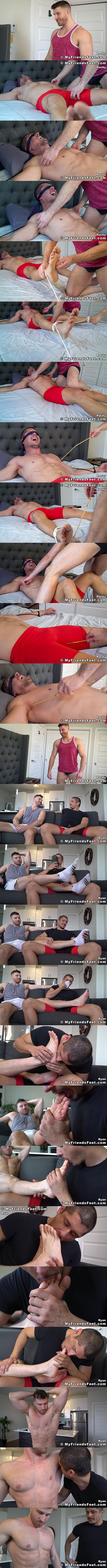 Muscle stud Rocky Vallarta gets tickled by hot hunky newcomer Ryan Ellis before Rocky worships, sniffs and licks Ryan's socks and bare feet at Myfriendsfeet 01