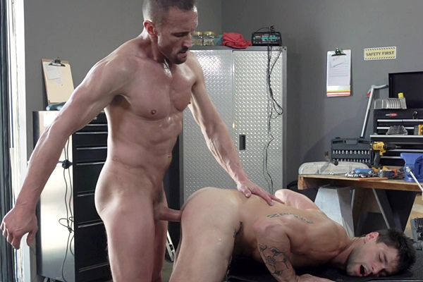 Macho daddy Myles Landon barebacks popular gay porn star Aspen's bubble ass before he fucks a big load out of Aspen and breeds him in Maximum Torque at Ragingstallion