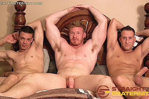 Hot straight dudes Aiden, Dane, Luke are trying gay for pay for the first time on camera before they jerk off in The Dare: It's Army vs. Navy vs. Marines at Straightfraternity