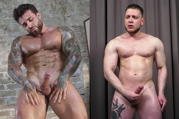 Rugged handsome fitness trainer and cam model Maxim (aka Maximus Barmin) and Russian boxer Sam show off their naked muscular bodies and jerk off at Theguysite
