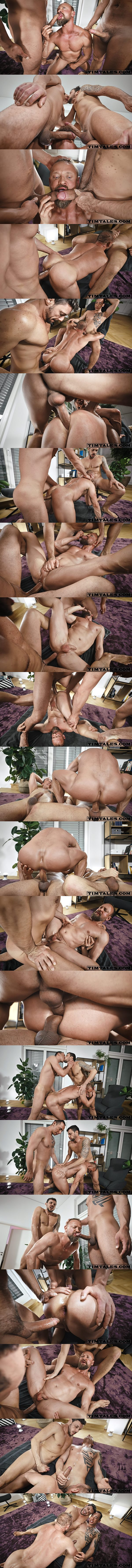 Hung tops Gaucho and Tian Tao tag team and double penetrate muscle daddy Guido Stahl in a raw interracial threesome in Guido's bottoming debut at Timtales 01