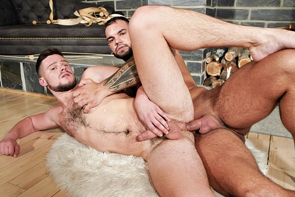 Inked beefcake Jerome (aka Ivo Kerk and Alex James) barebacks fit hairy muscle jock John D before he fucks the cum out of John and gives him a facial in Bear Skin at Bromo