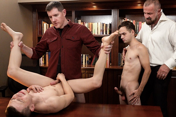 Felix Kamp and LeGrand Wolf bareback twink Austin Young and Marcus Rivers in an older younger scene in Fun-Pack Chapter 6 Principal's Office at Funsizeboys