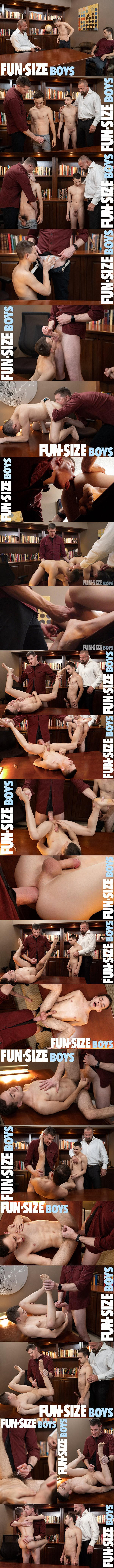 Felix Kamp and LeGrand Wolf bareback twink Austin Young and Marcus Rivers in an older younger scene in Fun-Pack Chapter 6 Principal's Office at Funsizeboys 01
