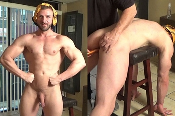 Masculine straight beefcake Anthony Flex poses his naked muscle body and gets his virgin ass dildo-fucked before he jerks off and tastes his own cum at Hardupstraightguys