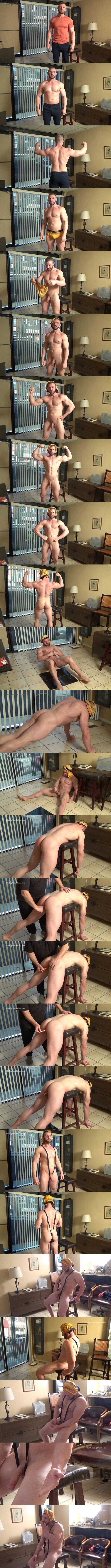 Masculine straight beefcake Anthony Flex poses his naked muscle body and gets his virgin ass dildo-fucked before he jerks off and tastes his own cum at Hardupstraightguys 01