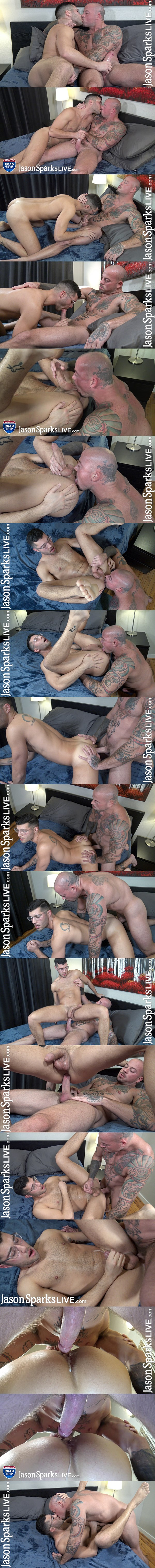 Veteran gay porn star Sean Duran barebacks newcomer Jeremy George before he fucks the cum out of Jeremy and creampies him in Jeremy's bottoming debut at Jasonsparkslive 01