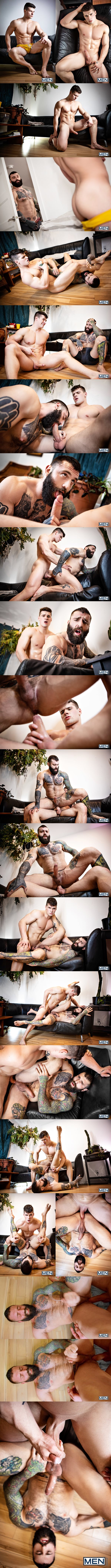 Muscular Canadian straight beefcake Malik Delgaty barebacks inked macho stud Markus Kage's meaty ass before he fucks the cum out of Markus in Bi-CuriAss at Men 01