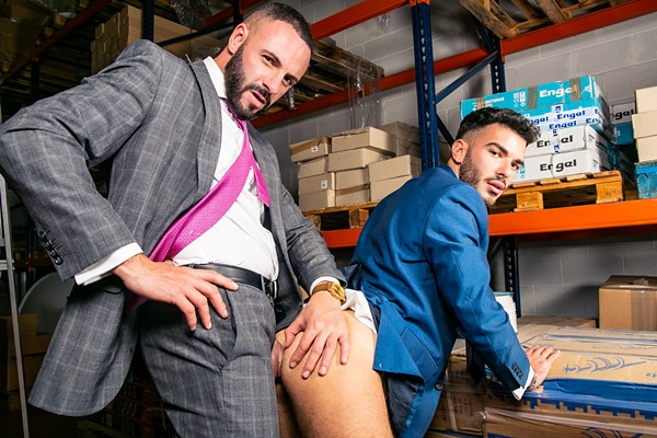 Macho hunk Leo Rosso and sexy Spanish newcomer Pol Prince flip fuck before Pol fucks the cum out of Leo and gives him a facial in both guys' bottoming debut at Menatplay