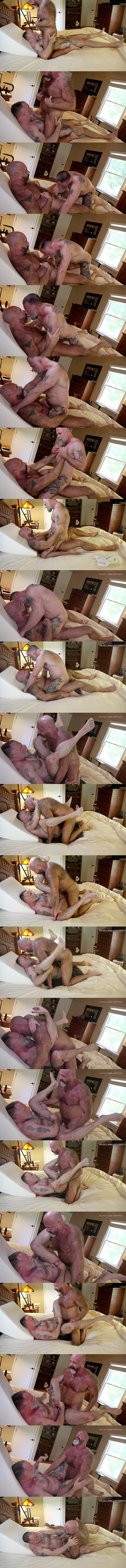 Fuzzy, masculine daddy Mack Austin barebacks Liam Angell in cowboy and missionary style until he fucks the cum out of Liam in Daddy Collector at Musclebearporn 01