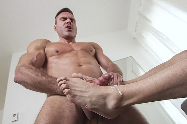 Gay porn star Manuel Skye and Rocky Vallarta worship each other's feet before Manuel foot-fucks and cums Rocky's feet in Manuel's Worship and Foot Job at Myfriendsfeet