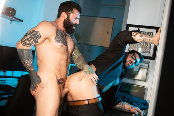 Bearded inked muscle hunk Markus Kage and masculine straight beefcake Ryan Bones flip fuck raw until they blow their creamy loads in My Boss Is A Dick at Ragingstallion